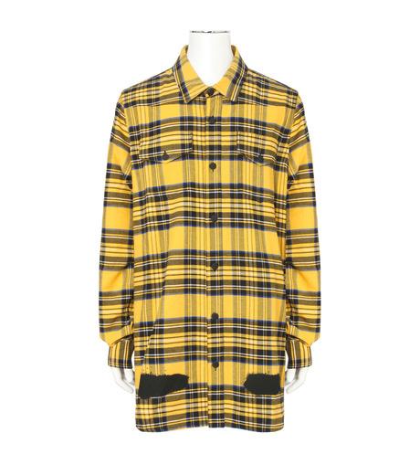 Off White(オフホワイト)のDIAG SPRAY CHECK SHIRT-YELLOW(シャツ/shirt)-001S7367013-32 詳細画像1
