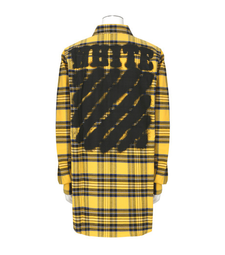 Off White(オフホワイト)のDIAG SPRAY CHECK SHIRT-YELLOW(シャツ/shirt)-001S7367013-32 詳細画像2