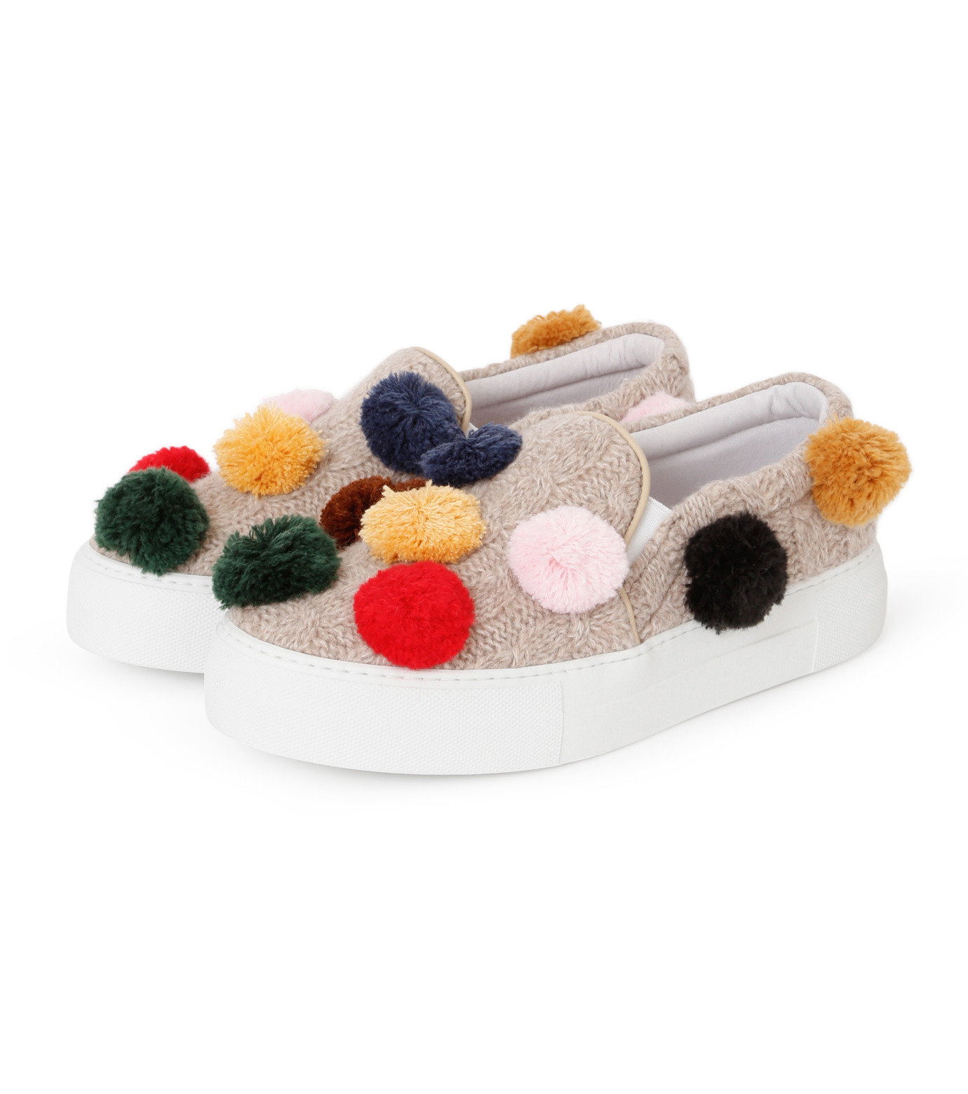 Joshua SANDERS(ジョシュア・サンダース)のKnit Pom Pom-LIGHT BEIGE(スニーカー/sneaker)-10078-51 拡大詳細画像2