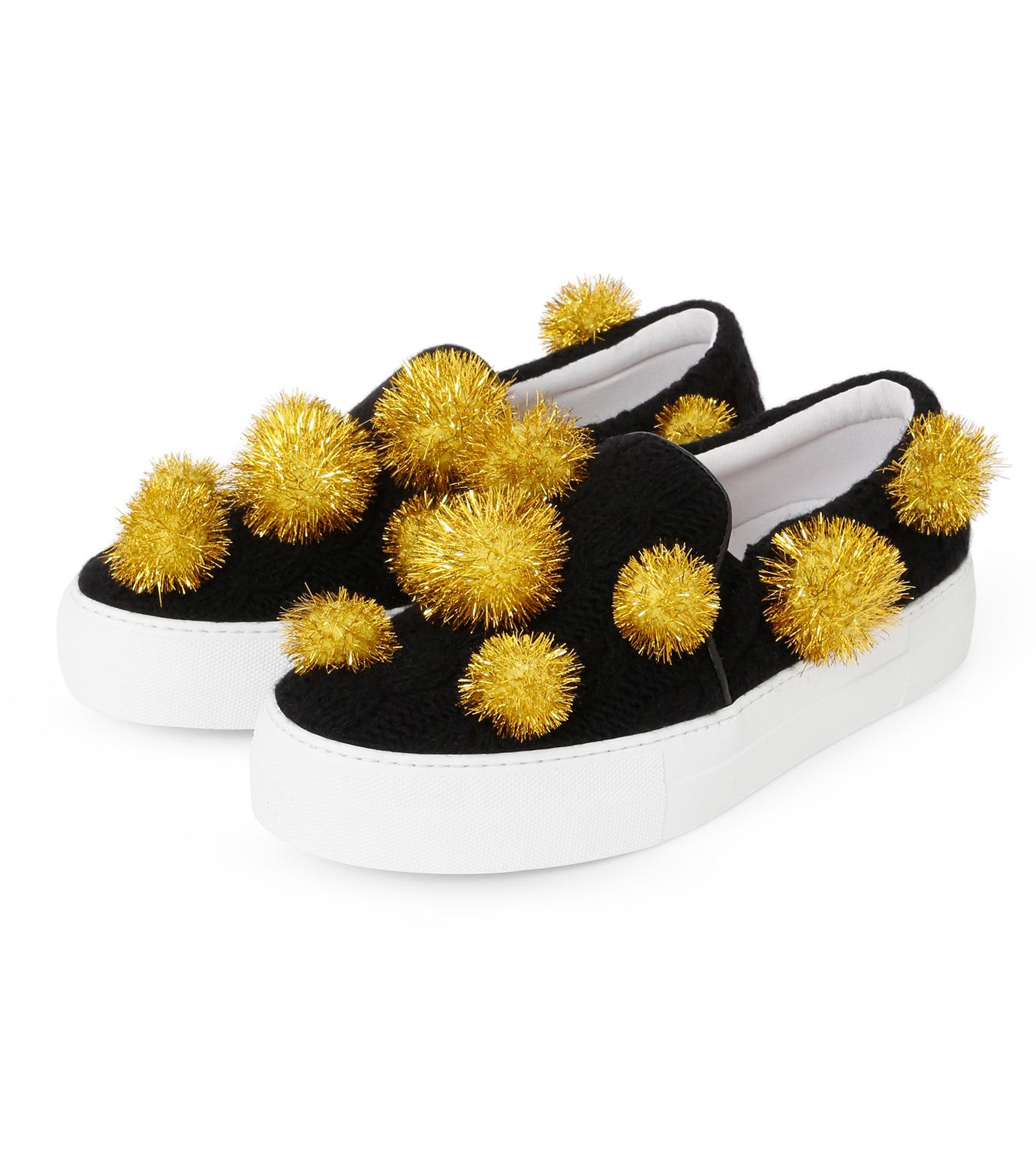 Joshua SANDERS(ジョシュア・サンダース)のSlip On Pompom-BLACK(スニーカー/sneaker)-10078P-13 拡大詳細画像2