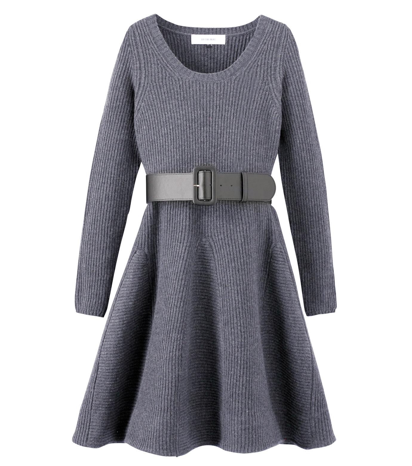 LE CIEL BLEU(ルシェルブルー)のRib Stitch Flare Crewneck Dress-GRAY-15A65025 拡大詳細画像1