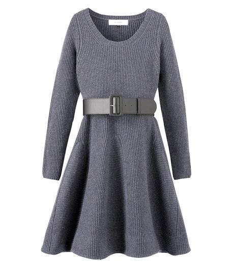 LE CIEL BLEU(ルシェルブルー)のRib Stitch Flare Crewneck Dress-GRAY-15A65025 詳細画像1