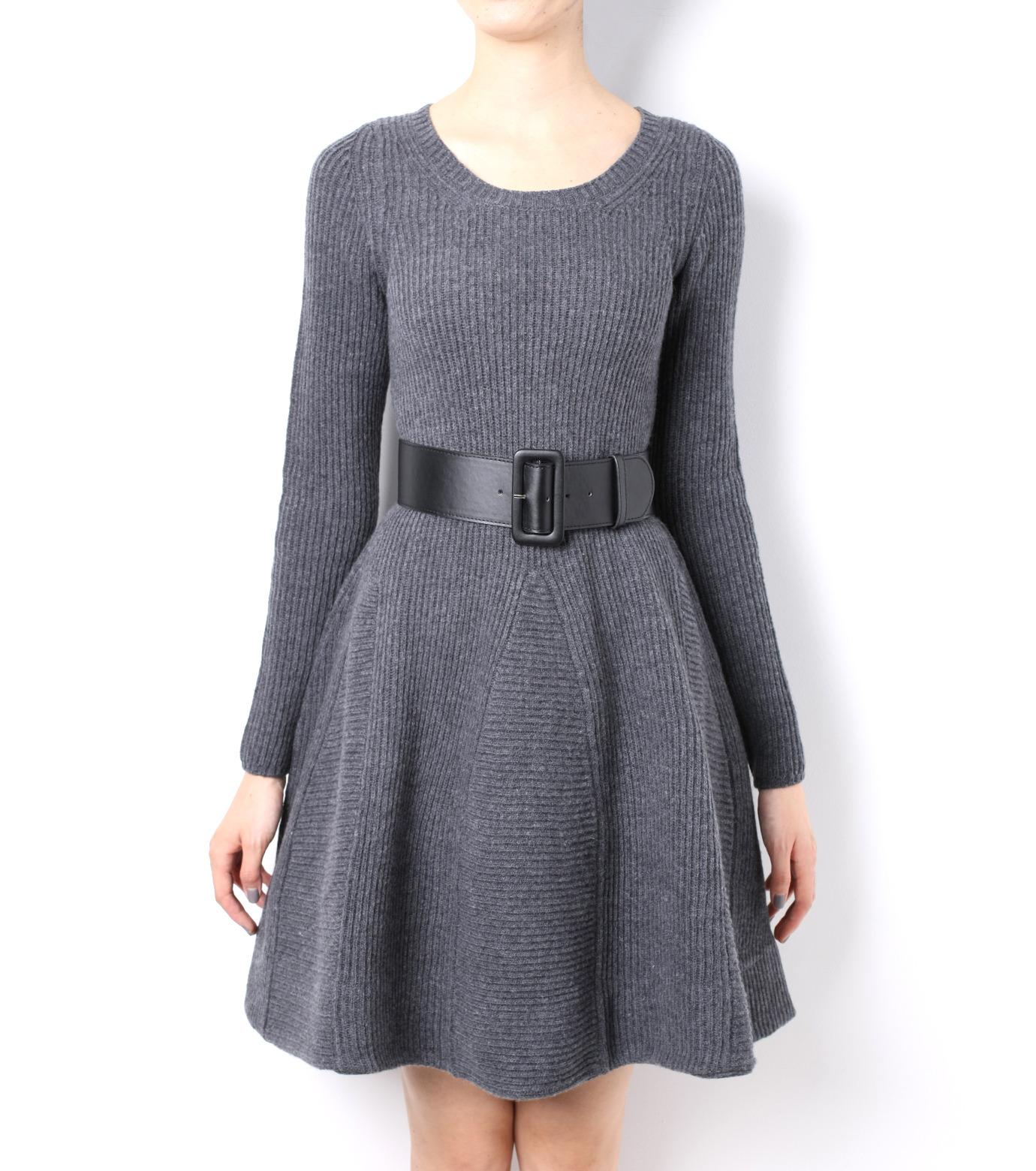 LE CIEL BLEU(ルシェルブルー)のRib Stitch Flare Crewneck Dress-GRAY-15A65025 拡大詳細画像2