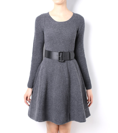 LE CIEL BLEU(ルシェルブルー)のRib Stitch Flare Crewneck Dress-GRAY-15A65025 詳細画像2