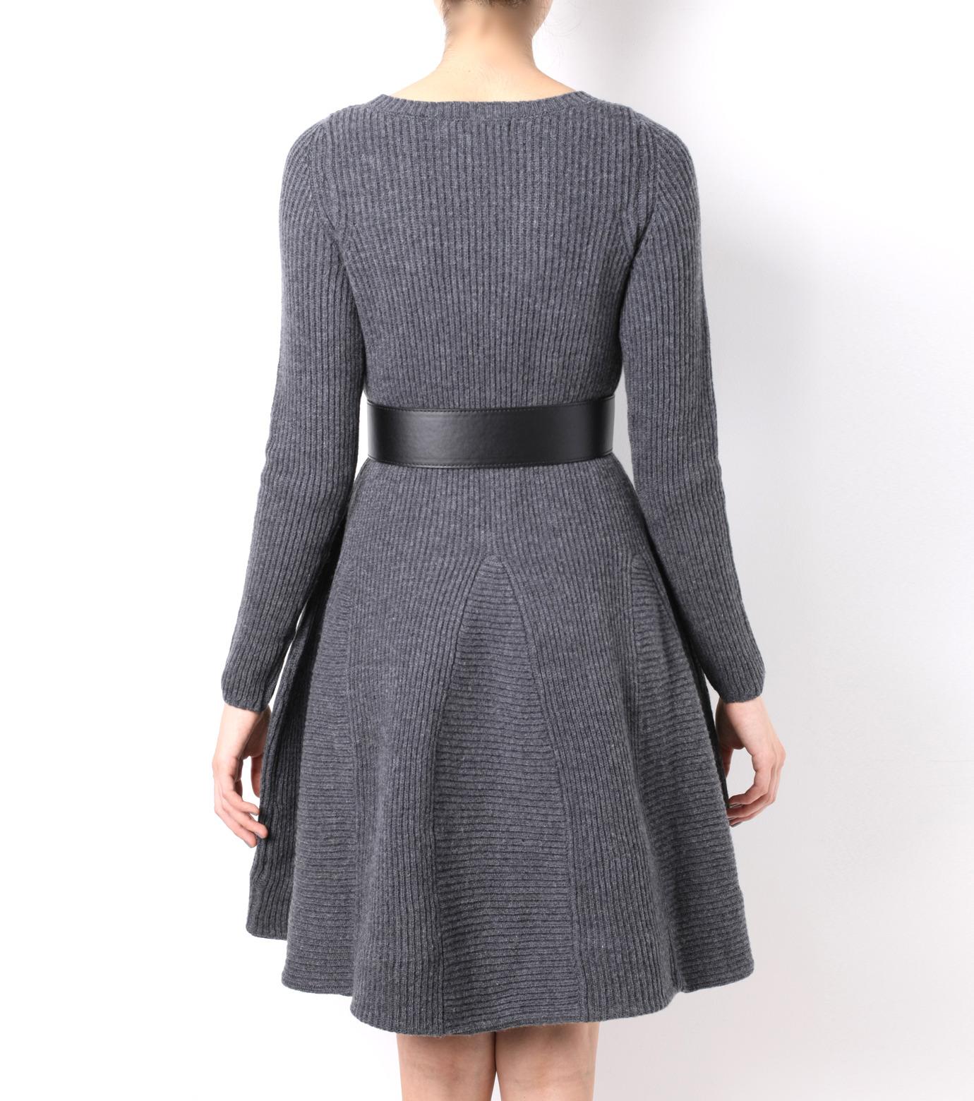 LE CIEL BLEU(ルシェルブルー)のRib Stitch Flare Crewneck Dress-GRAY-15A65025 拡大詳細画像3