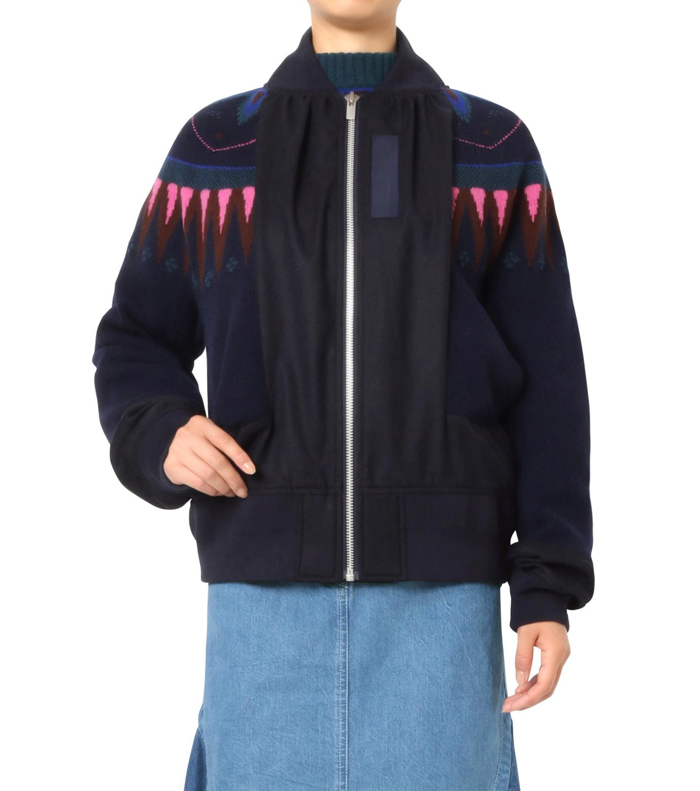 Sacai(サカイ)のFairisle Knit Blouson-NAVY(ニット/knit)-16-02726-93 拡大詳細画像1