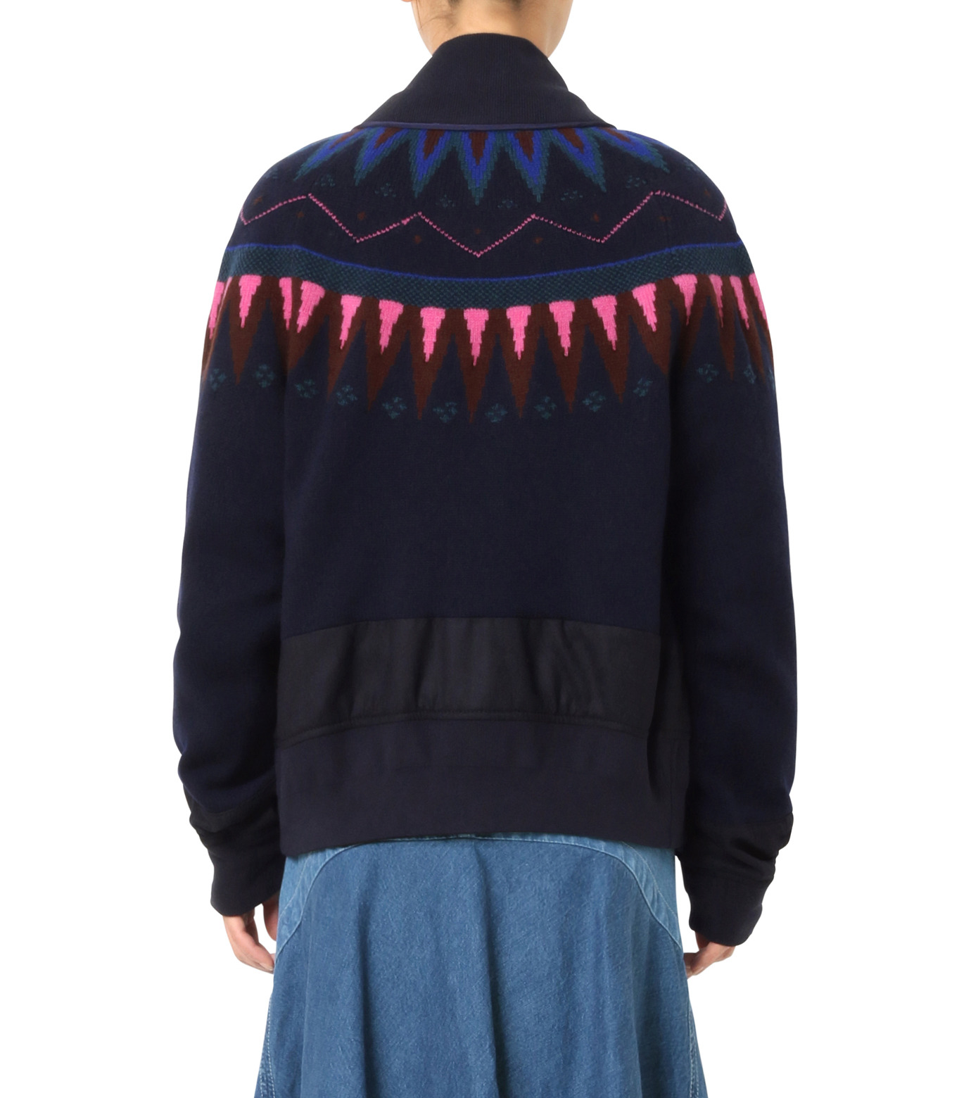 Sacai(サカイ)のFairisle Knit Blouson-NAVY(ニット/knit)-16-02726-93 拡大詳細画像2