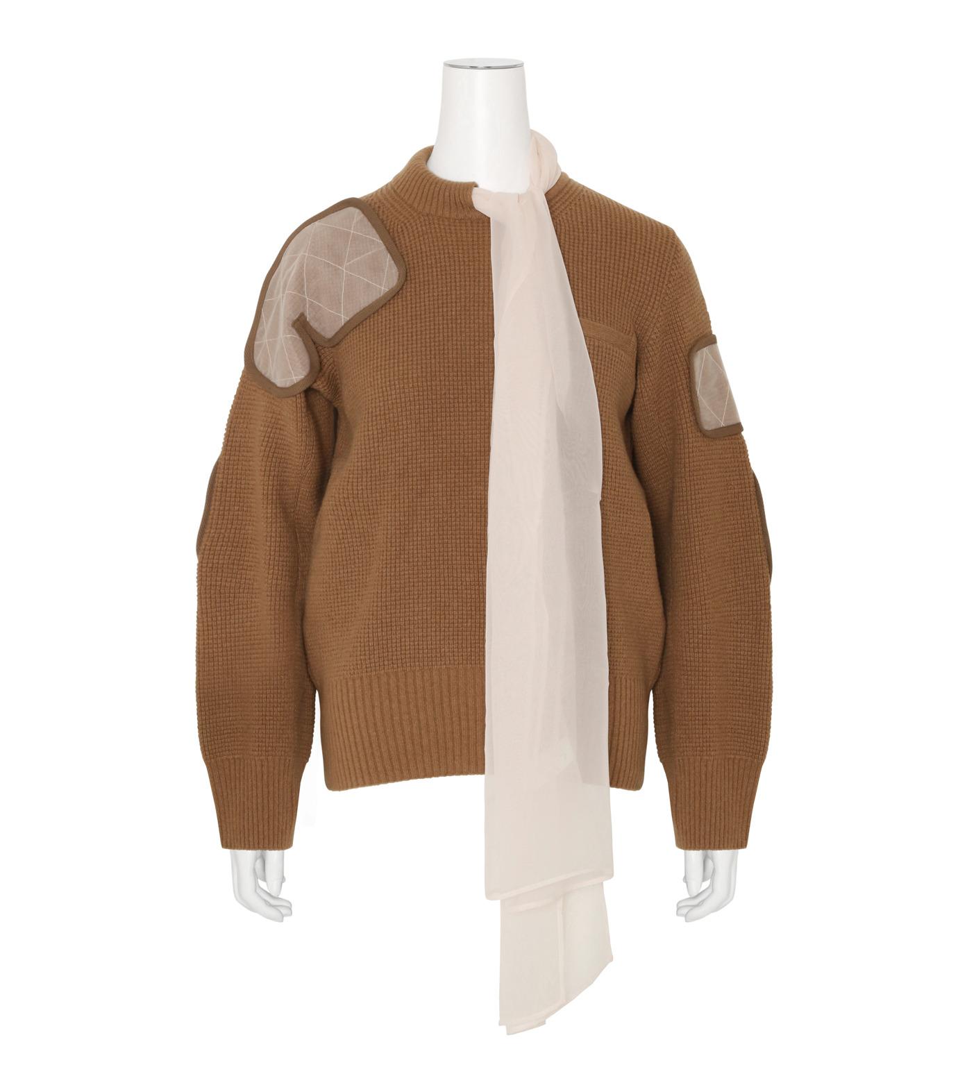 Sacai(サカイ)のLS Military Sweater w/Chiffon Scarf-CAMEL(ニット/knit)-16-02855-53 拡大詳細画像1