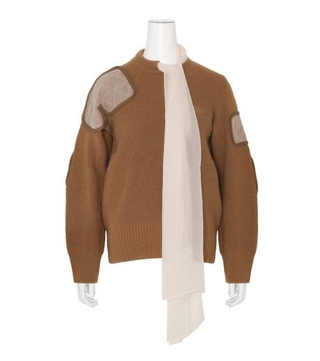 Sacai(サカイ)のLS Military Sweater w/Chiffon Scarf-CAMEL(ニット/knit)-16-02855-53 詳細画像1