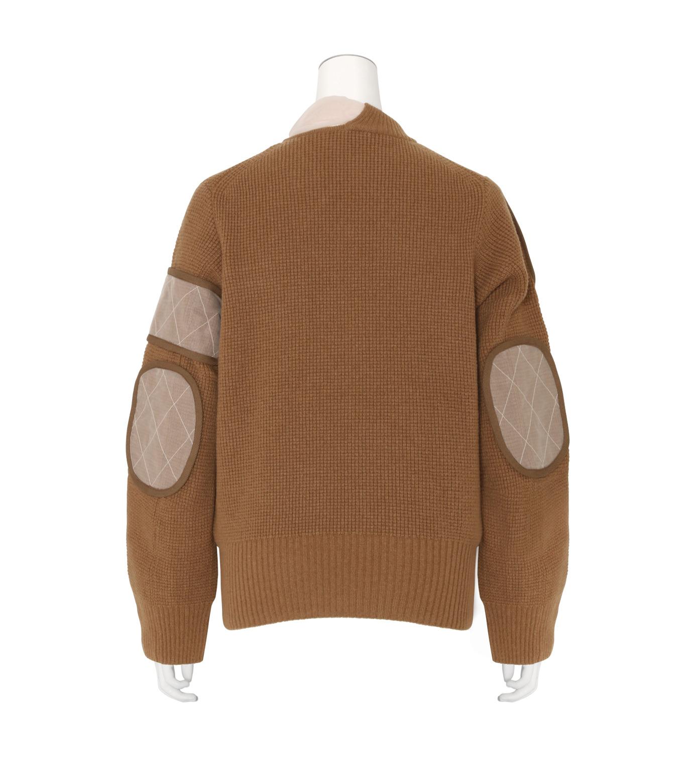 Sacai(サカイ)のLS Military Sweater w/Chiffon Scarf-CAMEL(ニット/knit)-16-02855-53 拡大詳細画像2