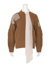Sacai LS Military Sweater w/Chiffon Scarf