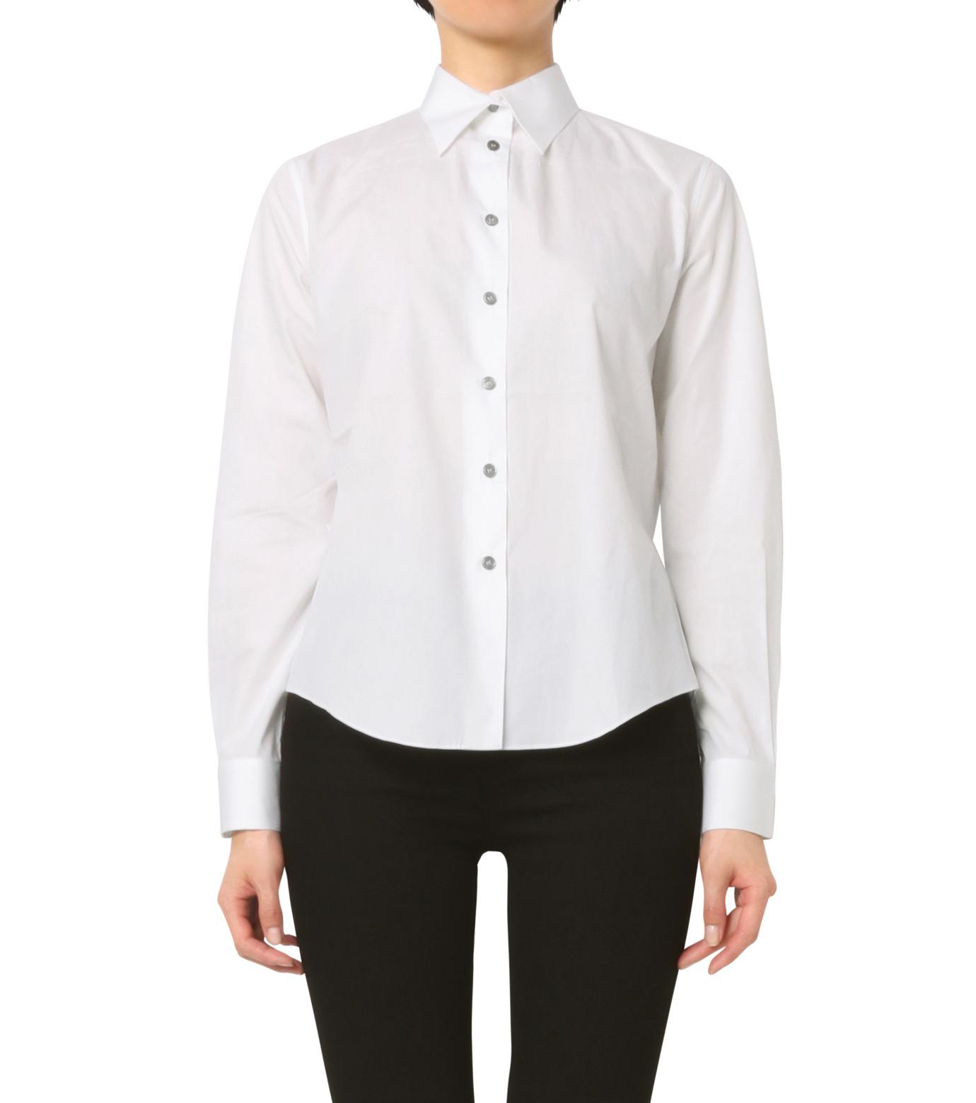 Jourden(ジョーダン)のWhite Shirt w/Ruffle Back Slit-WHITE(シャツ/shirt)-1603WC1TH01-4 拡大詳細画像1