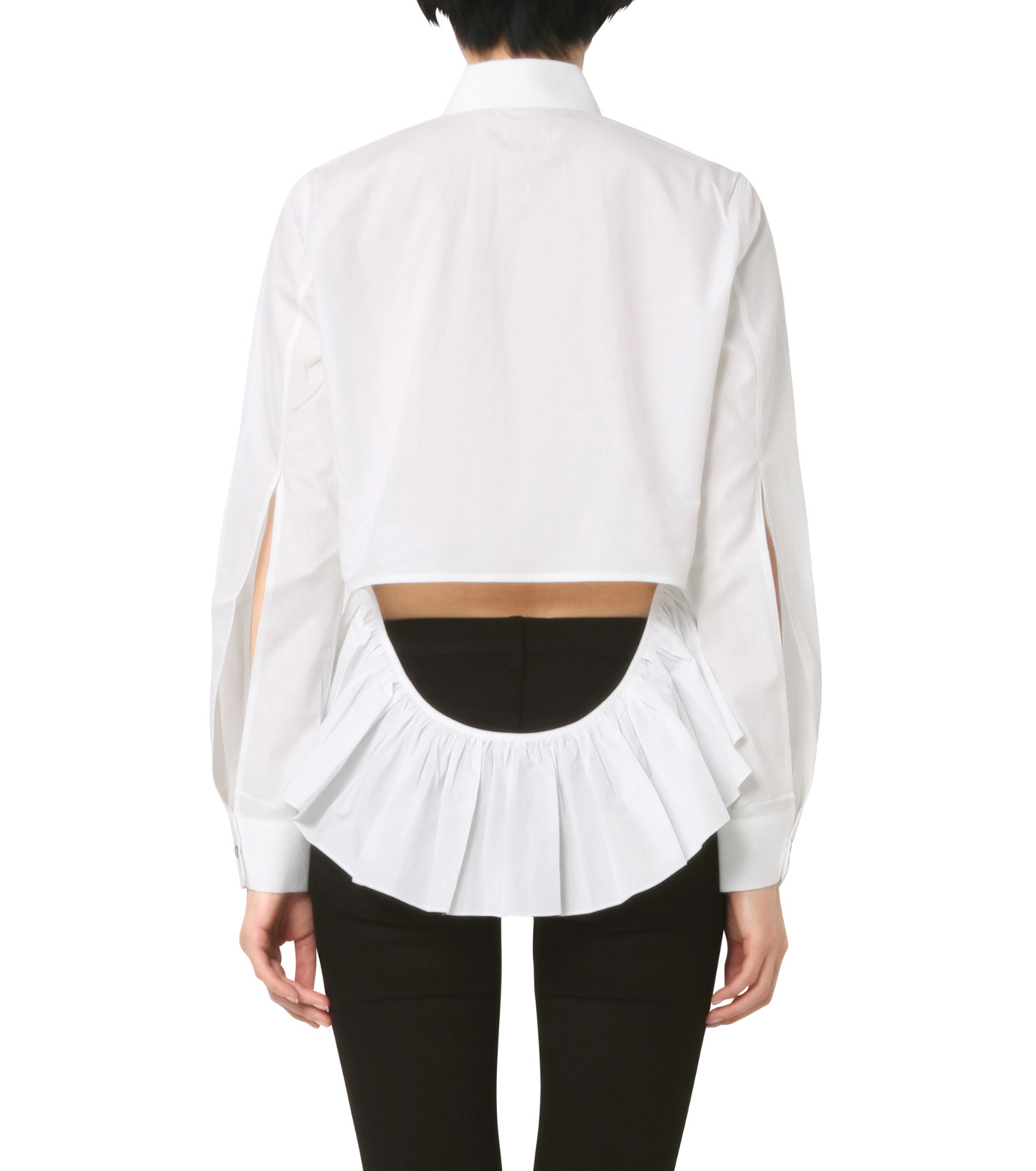 Jourden(ジョーダン)のWhite Shirt w/Ruffle Back Slit-WHITE(シャツ/shirt)-1603WC1TH01-4 拡大詳細画像2