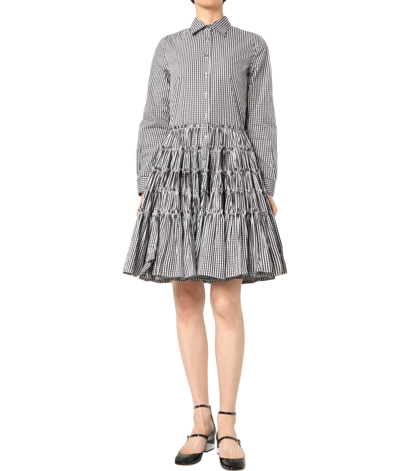 Jourden(ジョーダン)のBlack&White Gingham Shirt Dress-BLACK(ワンピース/one piece)-1603WR2TH03-13 拡大詳細画像1