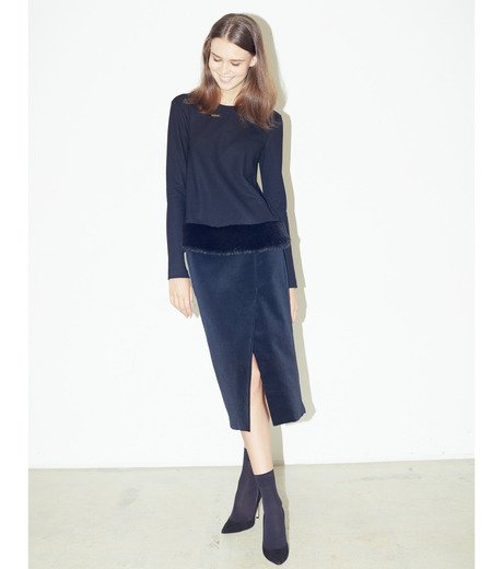 LE CIEL BLEU(ルシェルブルー)のベルベティーンスカート-BLACK-16A67036 詳細画像2