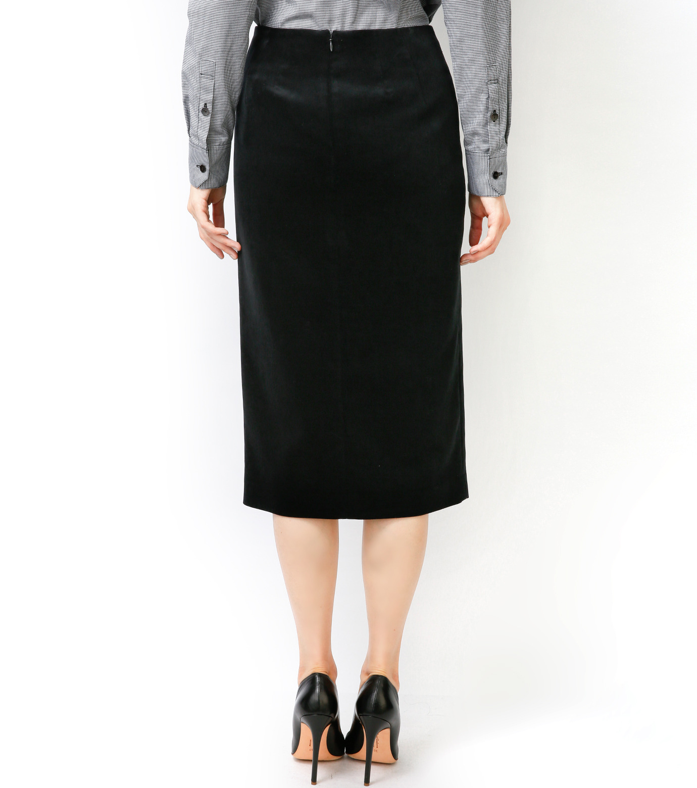 LE CIEL BLEU(ルシェルブルー)のベルベティーンスカート-BLACK-16A67036 拡大詳細画像5