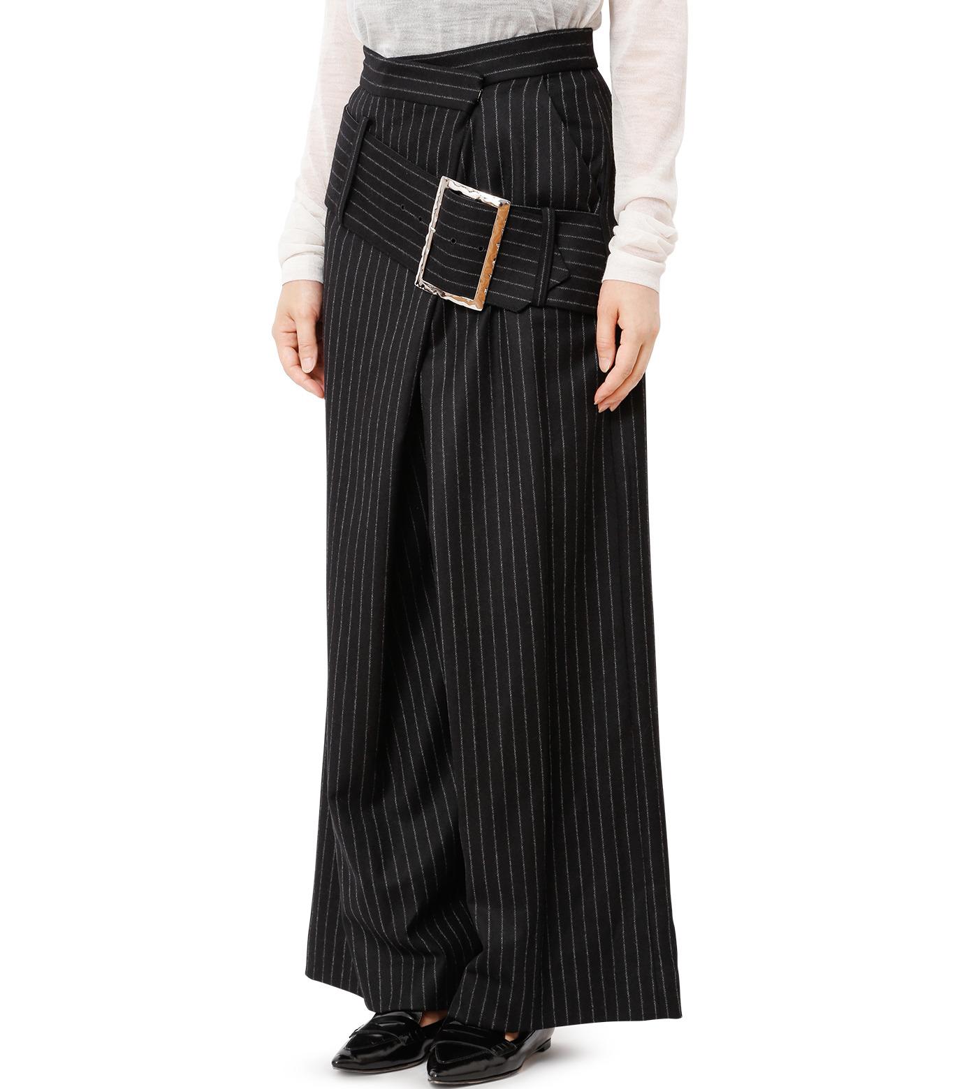 CHRISTIAN DADA(クリスチャン ダダ)のStriped Wideleg Trouser w/Buckle-BLACK(パンツ/pants)-16W-D-0607-13 拡大詳細画像1