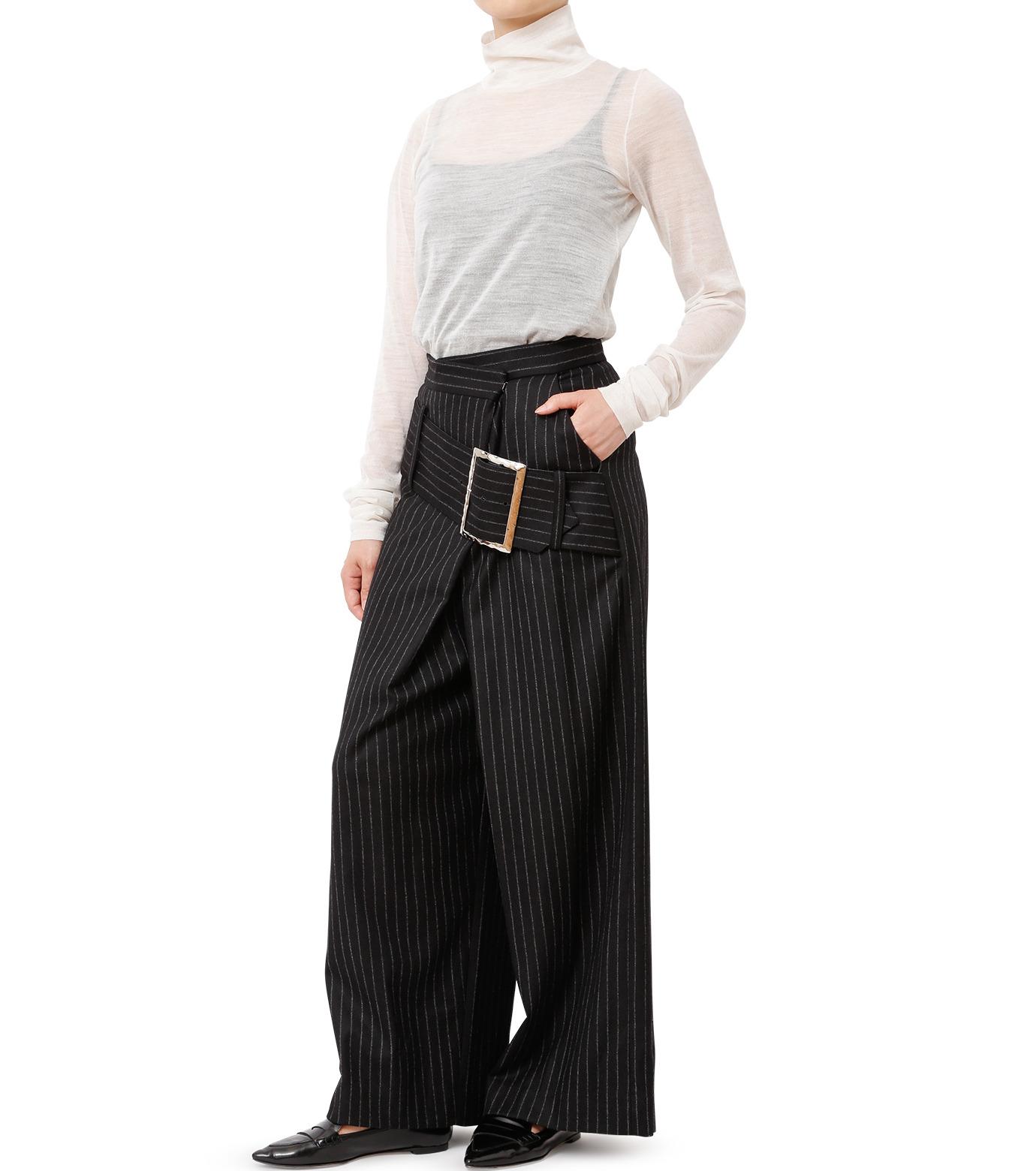 CHRISTIAN DADA(クリスチャン ダダ)のStriped Wideleg Trouser w/Buckle-BLACK(パンツ/pants)-16W-D-0607-13 拡大詳細画像3