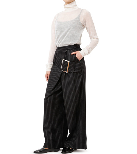CHRISTIAN DADA(クリスチャン ダダ)のStriped Wideleg Trouser w/Buckle-BLACK(パンツ/pants)-16W-D-0607-13 詳細画像3