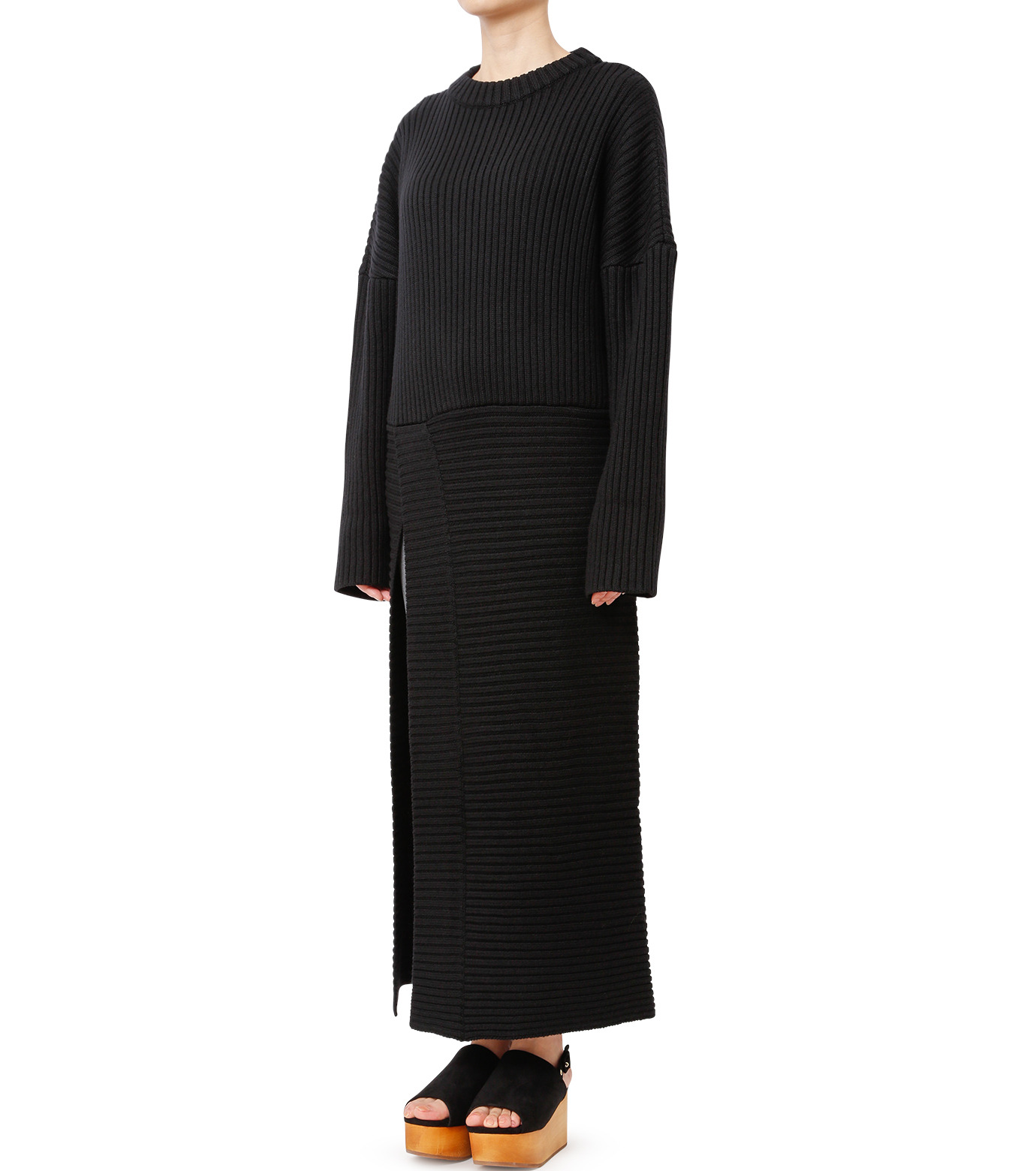 CHRISTIAN DADA(クリスチャン ダダ)のMaxi Knit Dress w/Slit-BLACK(ニット/knit)-16W-D-0806-13 拡大詳細画像1