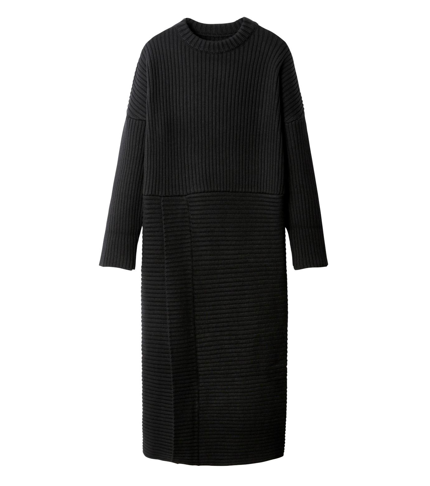 CHRISTIAN DADA(クリスチャン ダダ)のMaxi Knit Dress w/Slit-BLACK(ニット/knit)-16W-D-0806-13 拡大詳細画像4