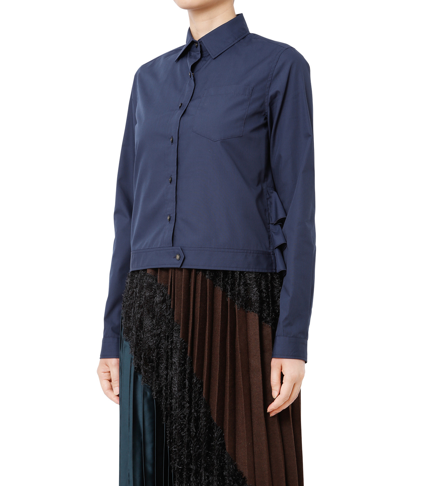 KOLOR(カラー)のShirt w/Back Ruffle Detail-NAVY(シャツ/shirt)-16WCL-B02134-93 拡大詳細画像1