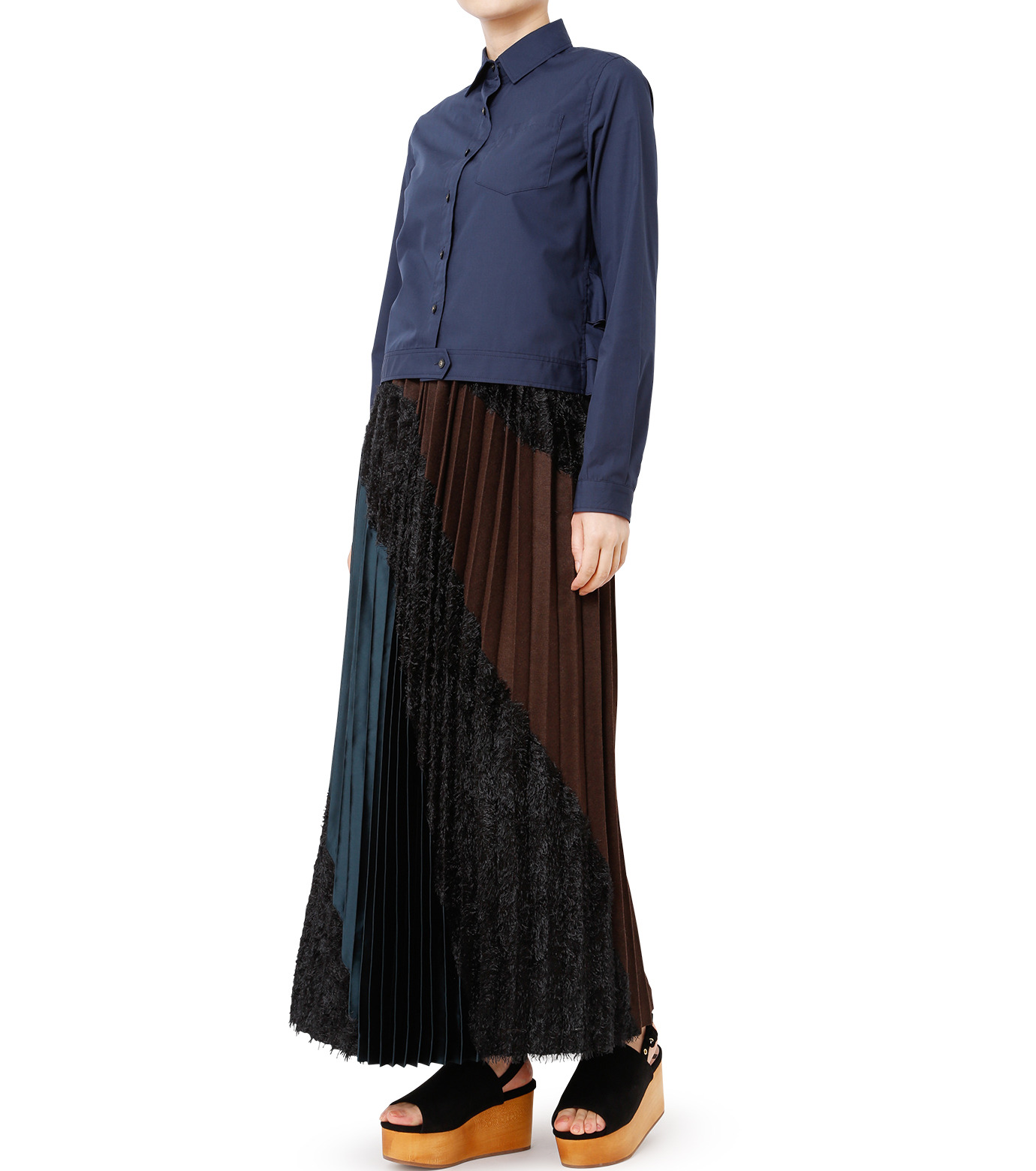 KOLOR(カラー)のShirt w/Back Ruffle Detail-NAVY(シャツ/shirt)-16WCL-B02134-93 拡大詳細画像3