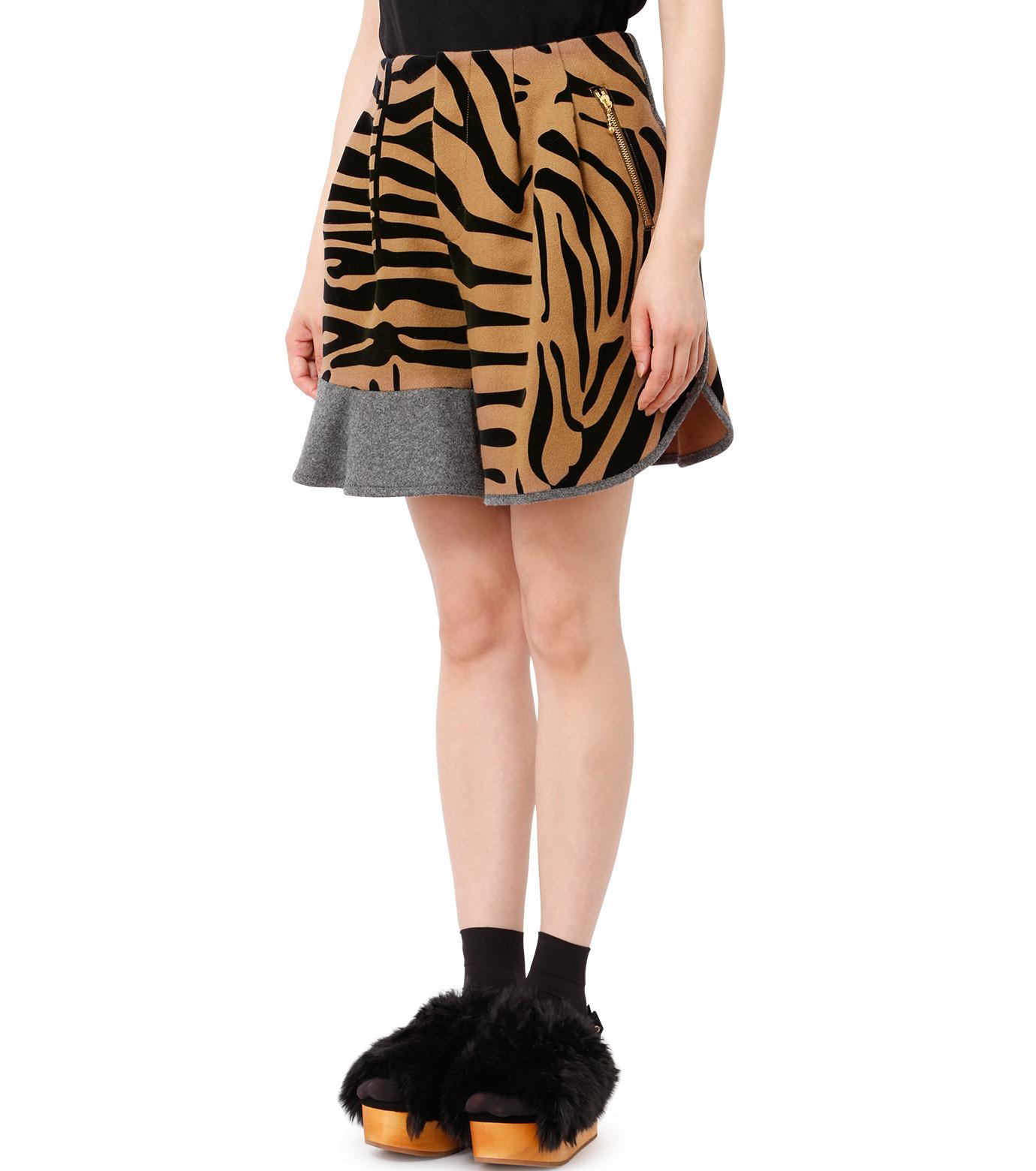 KOLOR(カラー)のMelton Flocky Zebra Mini Skirt-CAMEL(スカート/skirt)-16WCL-P02130-53 拡大詳細画像1