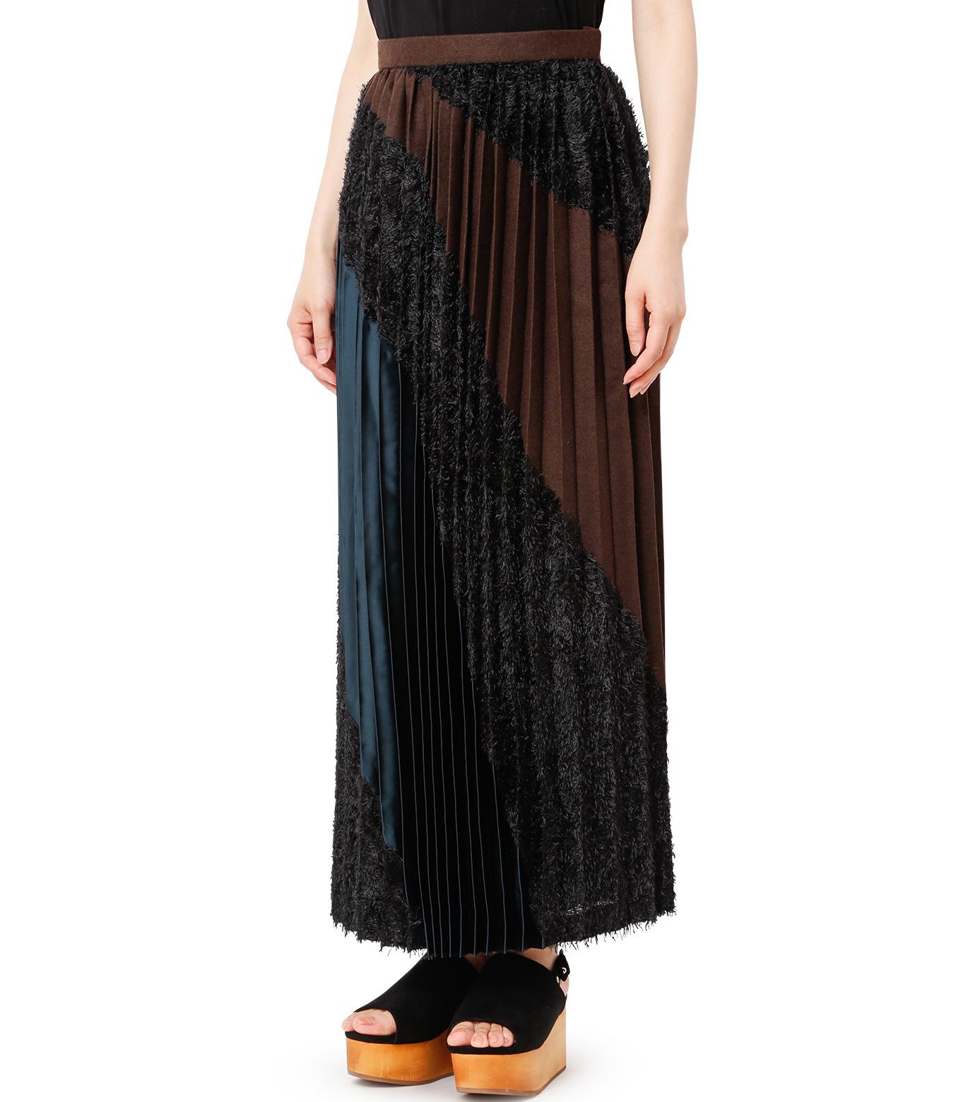KOLOR(カラー)のLong Pleated Skirt Mixed Jacquard-BLACK(スカート/skirt)-16WCL-S03129-13 拡大詳細画像1
