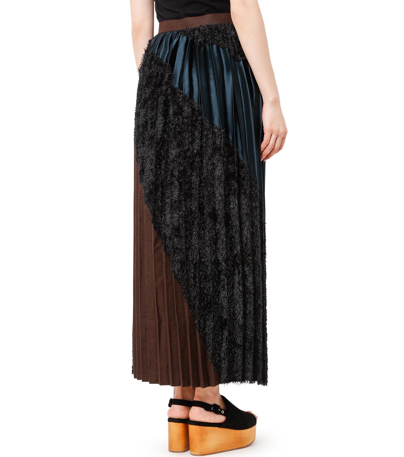 KOLOR(カラー)のLong Pleated Skirt Mixed Jacquard-BLACK(スカート/skirt)-16WCL-S03129-13 拡大詳細画像2
