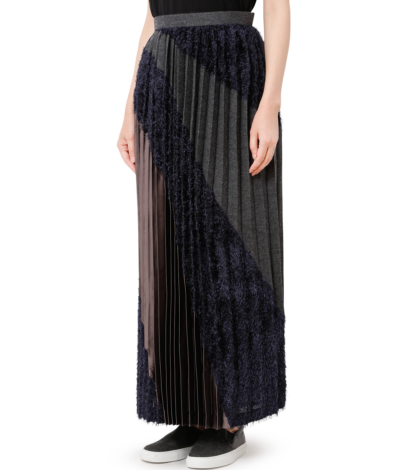 KOLOR(カラー)のLong Pleated Skirt Mixed Jacquard-NAVY(スカート/skirt)-16WCL-S03129-93 拡大詳細画像1