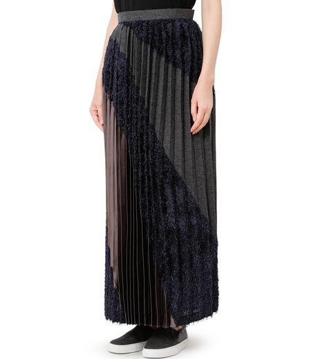 KOLOR(カラー)のLong Pleated Skirt Mixed Jacquard-NAVY(スカート/skirt)-16WCL-S03129-93 詳細画像1