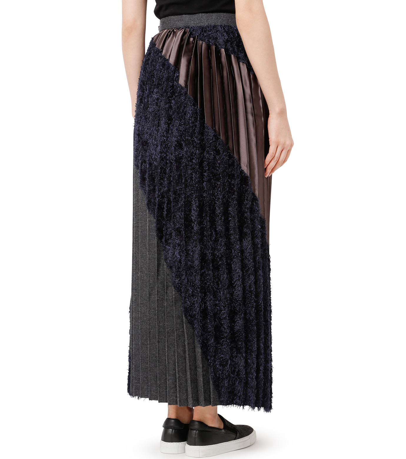 KOLOR(カラー)のLong Pleated Skirt Mixed Jacquard-NAVY(スカート/skirt)-16WCL-S03129-93 拡大詳細画像2