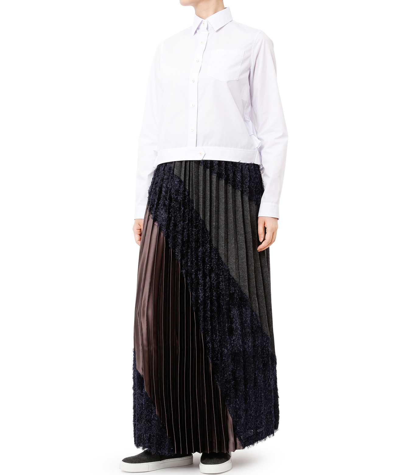 KOLOR(カラー)のLong Pleated Skirt Mixed Jacquard-NAVY(スカート/skirt)-16WCL-S03129-93 拡大詳細画像3
