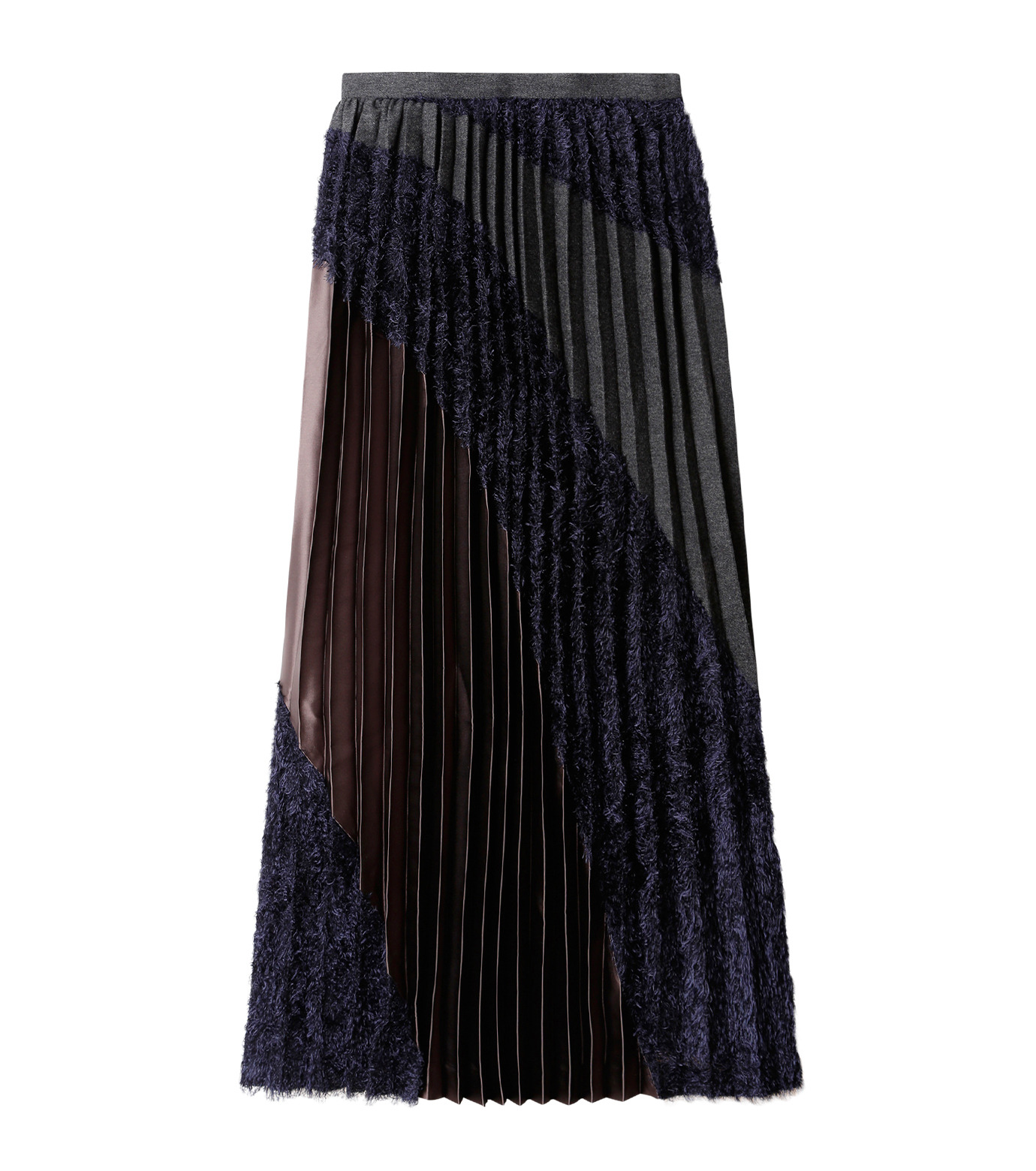 KOLOR(カラー)のLong Pleated Skirt Mixed Jacquard-NAVY(スカート/skirt)-16WCL-S03129-93 拡大詳細画像4