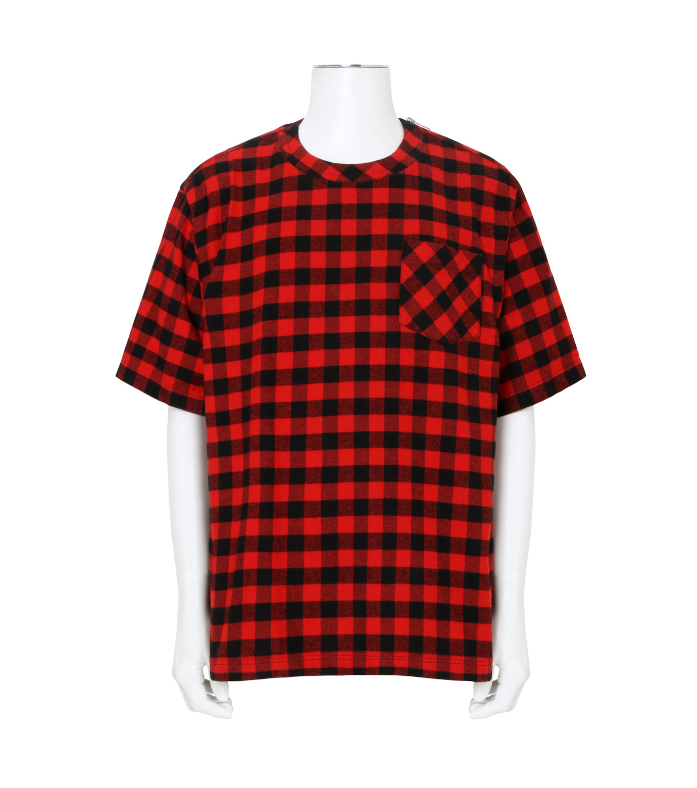 Sacai(サカイ)のTartan Check Pullover-RED(カットソー/cut and sewn)-17-01239M-62 拡大詳細画像1