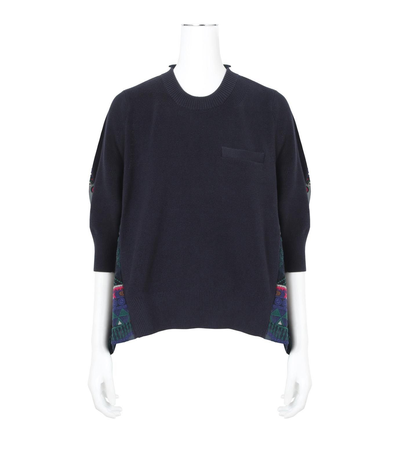 Sacai(サカイ)のTribal Lace Knit Pullover-NAVY(ニット/knit)-17-02945-93 拡大詳細画像1