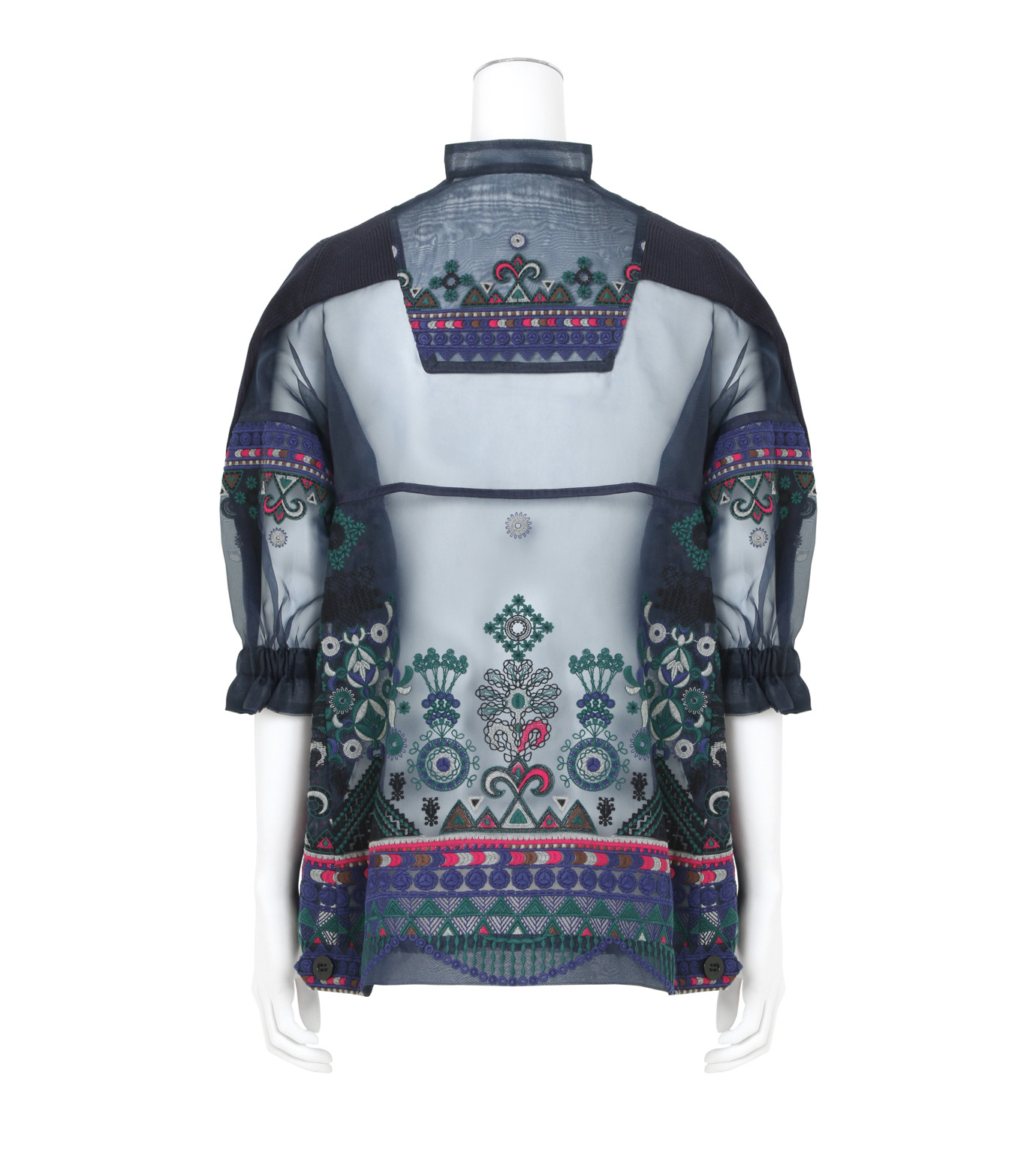 Sacai(サカイ)のTribal Lace Knit Pullover-NAVY(ニット/knit)-17-02945-93 拡大詳細画像2