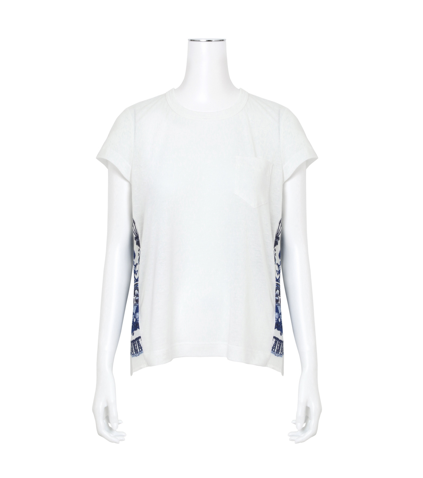 Sacai(サカイ)のTribal Lace Print Tees-WHITE(カットソー/cut and sewn)-17-02947-4 拡大詳細画像1
