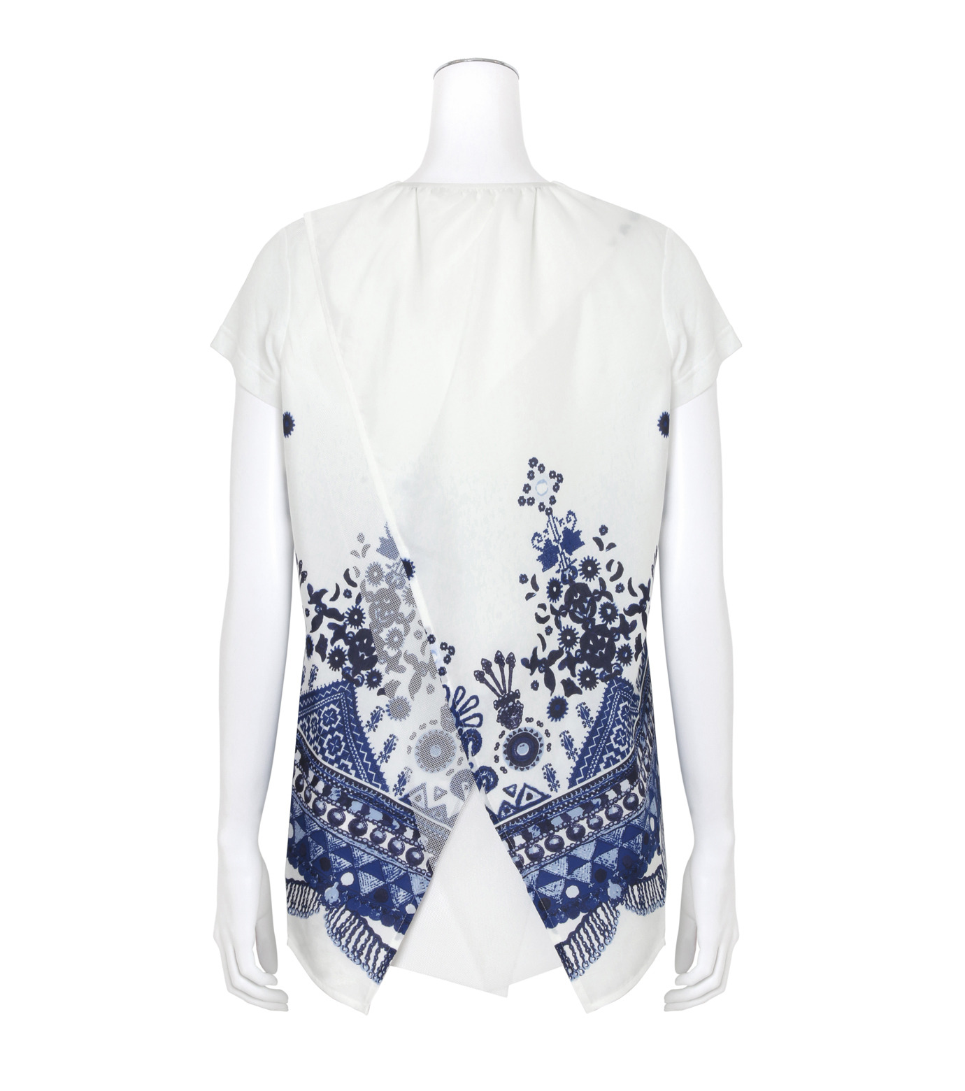 Sacai(サカイ)のTribal Lace Print Tees-WHITE(カットソー/cut and sewn)-17-02947-4 拡大詳細画像2