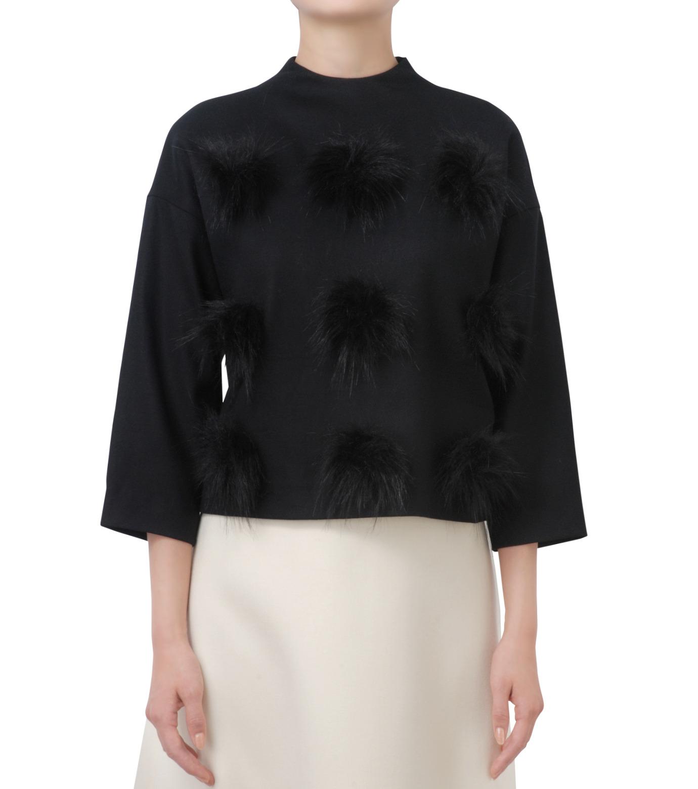 LE CIEL BLEU(ルシェルブルー)のフェイクファーポンポントップス-BLACK(シャツ/shirt)-17A63029 拡大詳細画像1