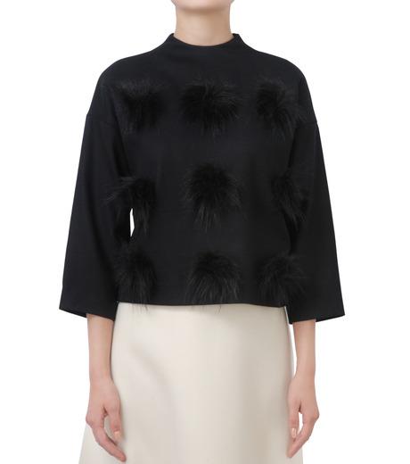 LE CIEL BLEU(ルシェルブルー)のフェイクファーポンポントップス-BLACK(シャツ/shirt)-17A63029 詳細画像1
