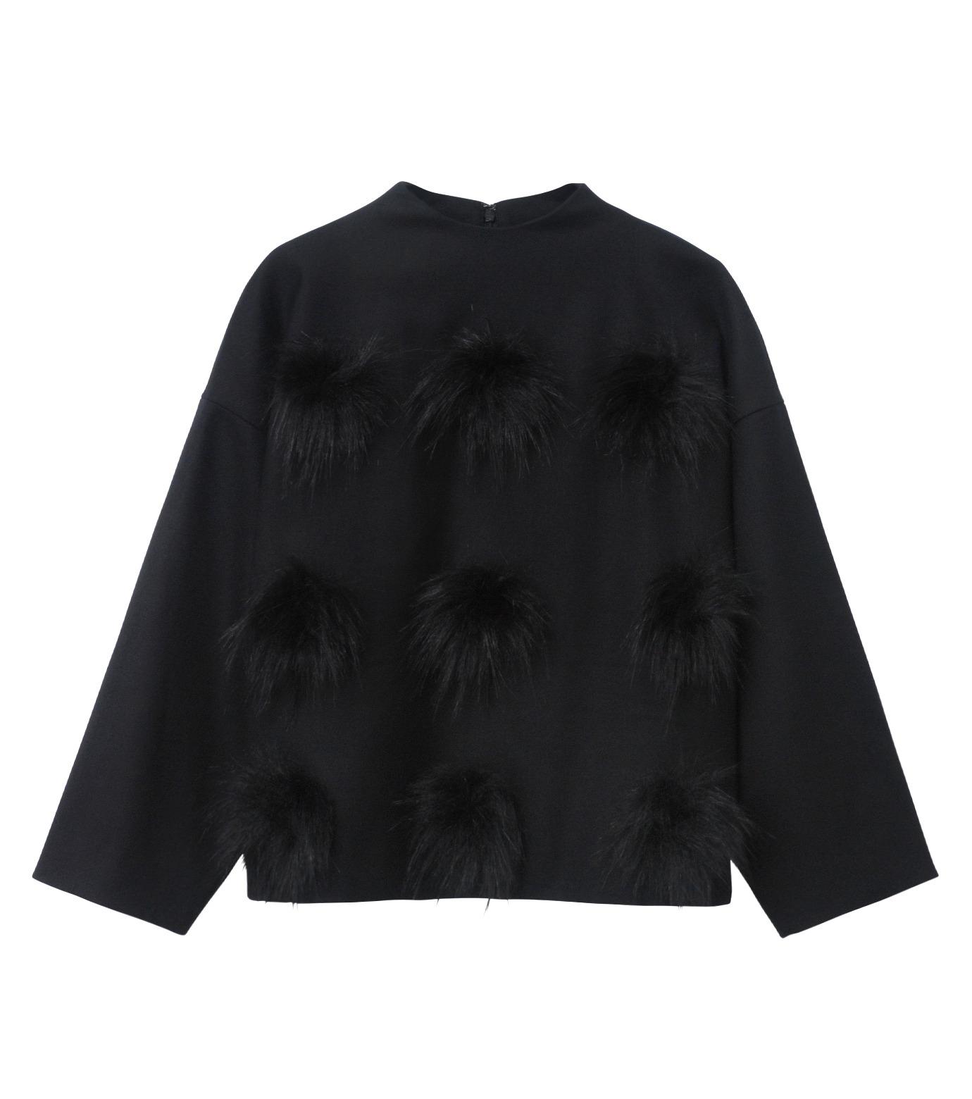 LE CIEL BLEU(ルシェルブルー)のフェイクファーポンポントップス-BLACK(シャツ/shirt)-17A63029 拡大詳細画像5