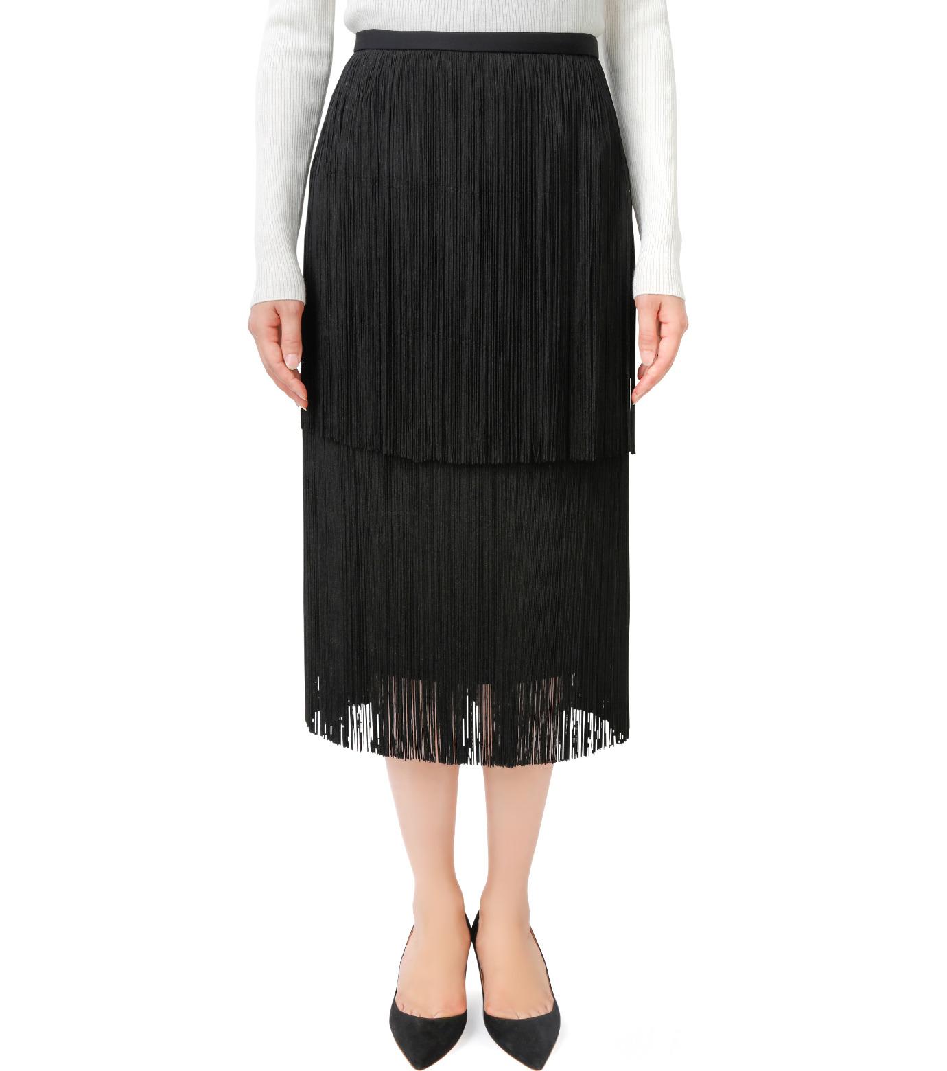 LE CIEL BLEU(ルシェルブルー)のフリンジミディタイトスカート-BLACK(スカート/skirt)-17A67042 拡大詳細画像1