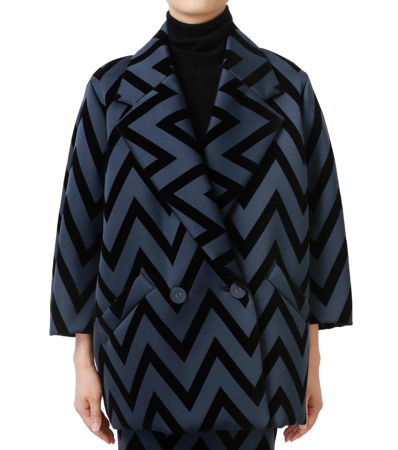 LE CIEL BLEU(ルシェルブルー)のフロックプリントコート-BLACK(コート/coat)-17A69005 拡大詳細画像1