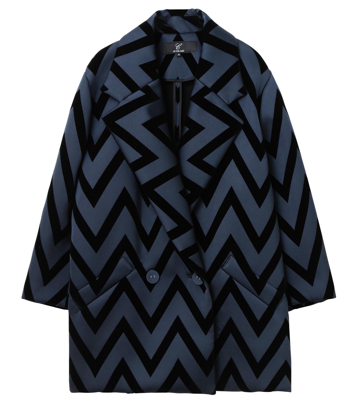 LE CIEL BLEU(ルシェルブルー)のフロックプリントコート-BLACK(コート/coat)-17A69005 拡大詳細画像5