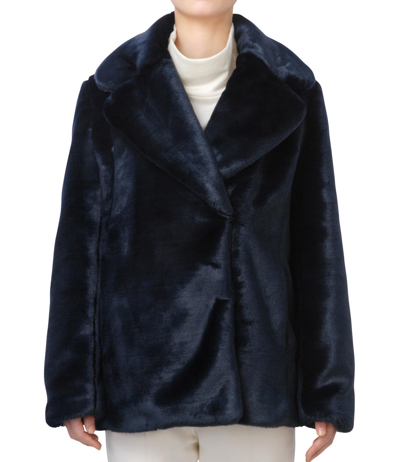 LE CIEL BLEU(ルシェルブルー)のフェイクファーPコート-NAVY(コート/coat)-17A69019 拡大詳細画像1