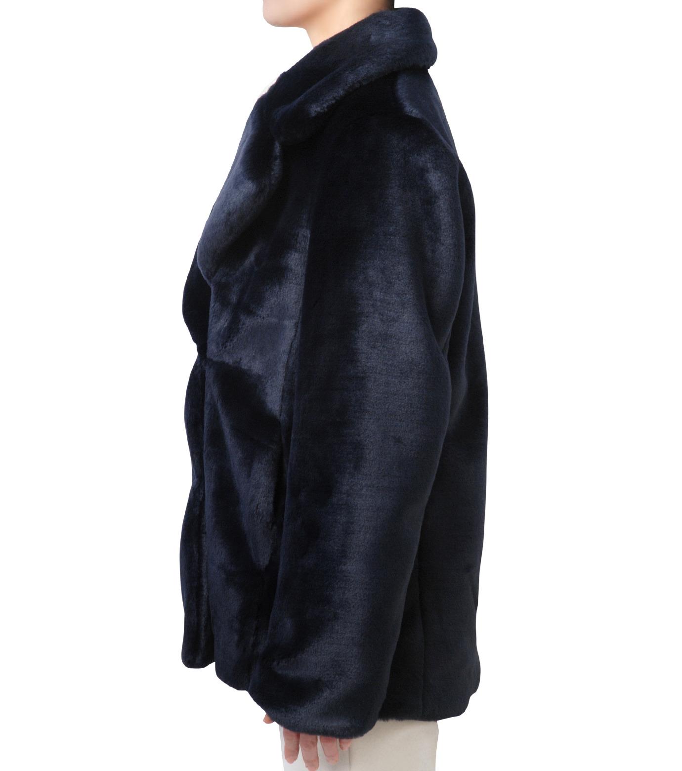 LE CIEL BLEU(ルシェルブルー)のフェイクファーPコート-NAVY(コート/coat)-17A69019 拡大詳細画像2