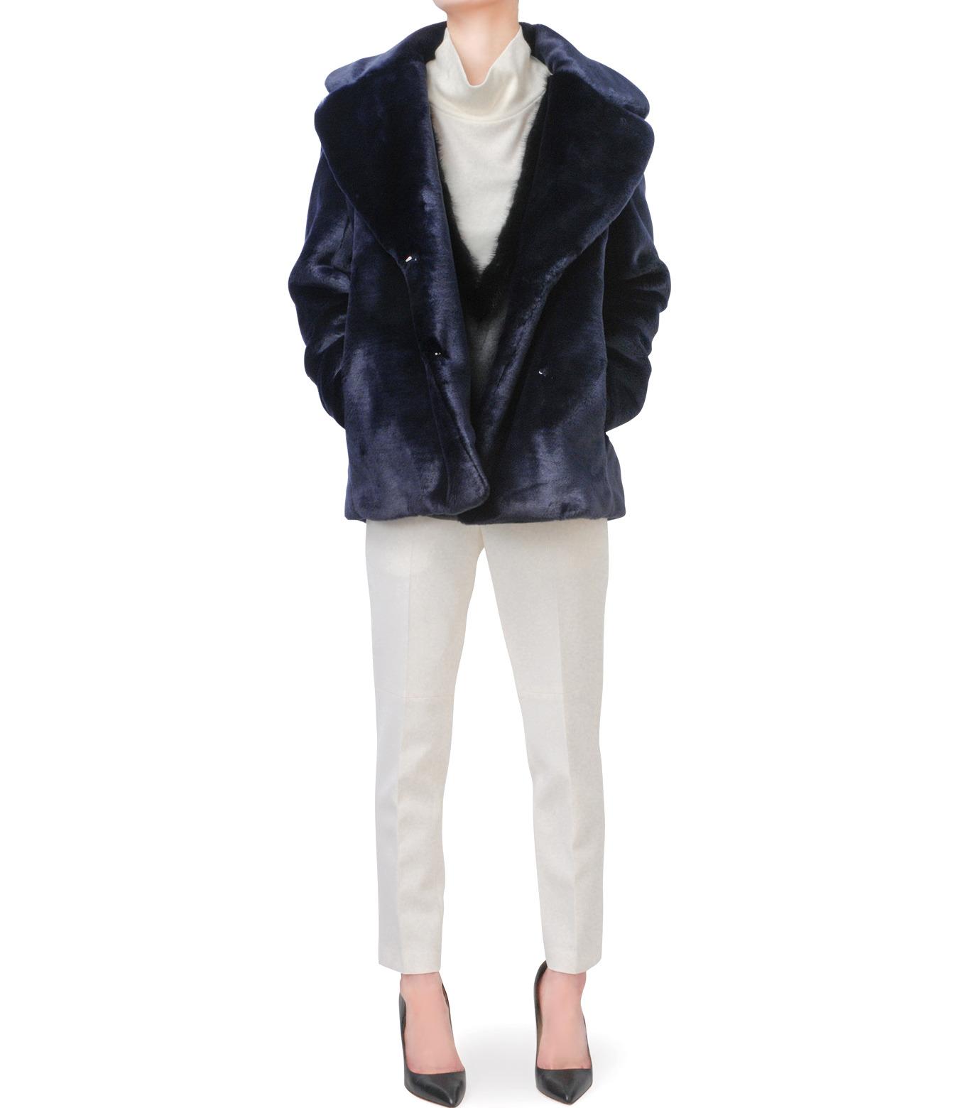 LE CIEL BLEU(ルシェルブルー)のフェイクファーPコート-NAVY(コート/coat)-17A69019 拡大詳細画像4