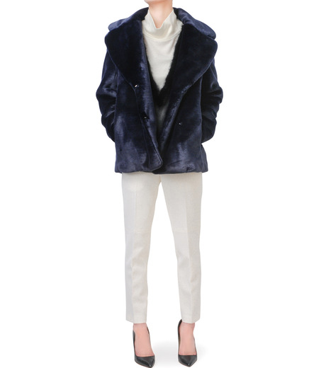 LE CIEL BLEU(ルシェルブルー)のフェイクファーPコート-NAVY(コート/coat)-17A69019 詳細画像4